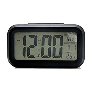 cheap Alarm Clocks-Forestime Battery Operated Clock, Mute Multi-Function Digital Alarm Clock with Temperature Calendar Display and Smart Sensor Backlight, Perfect for Home, Office, and Kids