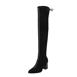 cheap Women's Boots-Women's Boots Chunky Heel Pointed Toe PU Over The Knee Boots Casual / British Fall & Winter Black / Burgundy