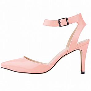 cheap Women's Heels-Women's Heels Stiletto Heel Pointed Toe Patent Leather Minimalism Walking Shoes Spring &  Fall / Spring & Summer Light Blue / White / Orange