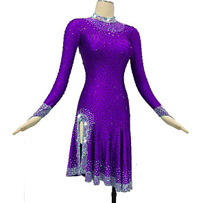 cheap Latin Dancewear-Latin Dance Dress Crystals / Rhinestones Women's Training Performance Long Sleeve High Spandex