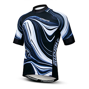cheap Cycling Jerseys-21Grams Men's Short Sleeve Cycling Jersey Polyester Elastane Lycra Black Stripes Bike Jersey Top Mountain Bike MTB Road Bike Cycling Breathable Quick Dry Moisture Wicking Sports Clothing Apparel