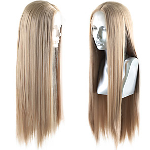 cheap Synthetic Lace Wigs-Synthetic Lace Front Wig Straight Middle Part Lace Front Wig Blonde Long Golden Brown / Ash Blonde Synthetic Hair 18-26 inch Women's Life Soft Adjustable Blonde