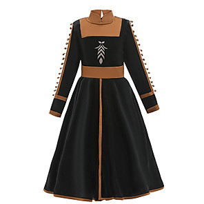 cheap Movie & TV Theme Costumes-Princess Anna Dress Flower Girl Dress Girls' Movie Cosplay A-Line Slip Halloween Black Dress Halloween