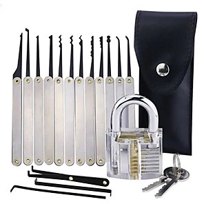 cheap Indoor IP Network Cameras-Transparent Practice Padlock with 12pcs Unlocking Lock Picks Set Key Extractor Tools