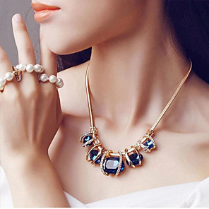 cheap Necklaces-Women's Sapphire Crystal Statement Necklace Bib Aquarius Ladies European Festival / Holiday Elizabeth Locke Crystal Imitation Diamond Dark Green Blue Necklace Jewelry For Party Special Occasion