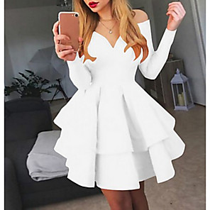 cheap Women's Boots-Women's A Line Dress - Long Sleeve Solid Colored Layered Off Shoulder Sexy Cocktail Party Going out Birthday White Black Red S M L XL XXL