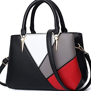 cheap Handbag & Totes-Women's Zipper PU Top Handle Bag Solid Color Black / Wine / Purple