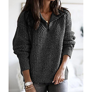 cheap Women's Boots-Women's Solid Colored Pullover Long Sleeve Sweater Cardigans V Neck Blushing Pink Khaki Light gray
