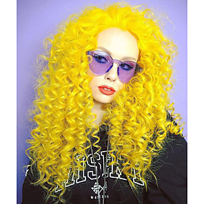 cheap Synthetic Lace Wigs-Synthetic Lace Front Wig Deep Curly Spiral Curl Free Part Lace Front Wig Long Yellow Synthetic Hair 18-26 inch Women's Cosplay Heat Resistant Classic Yellow / Natural Hairline / Natural Hairline