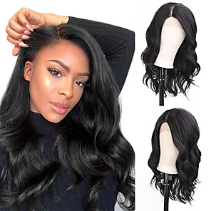 cheap Synthetic Trendy Wigs-Synthetic Lace Front Wig Wavy Side Part Lace Front Wig Long Natural Black Synthetic Hair 18-26 inch Women's Life Soft Adjustable Black
