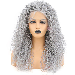 cheap Synthetic Trendy Wigs-Synthetic Lace Front Wig Afro Curly Spiral Curl Free Part with Baby Hair Lace Front Wig Long Grey Synthetic Hair 18-30 inch Women's Heat Resistant Classic Synthetic Gray / Natural Hairline