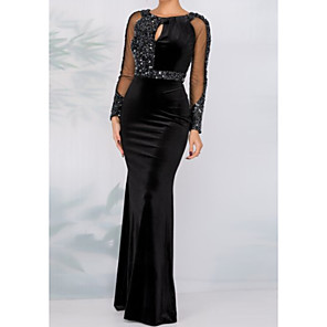 cheap Evening Dresses-Sheath / Column Sparkle Black Wedding Guest Formal Evening Dress Jewel Neck Long Sleeve Floor Length Tulle Velvet with Crystals Sequin 2020