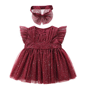 cheap Baby Girls'  Dresses-Baby Girls' Basic Solid Colored Sleeveless Dress Red