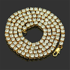 cheap Men's Chain Necklaces-Men's Chain Necklace Long Necklace Classic Precious Unique Design Fashion Zircon Gold Plated Chrome Gold Silver 50,55 cm Necklace Jewelry 1pc For Daily Street Work
