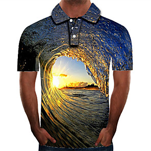 cheap Cycling Jerseys-Men's Plus Size Polo Graphic Print Slim Tops Street chic Exaggerated Shirt Collar Rainbow / Short Sleeve