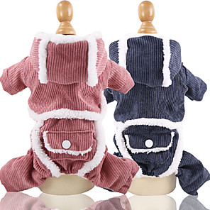 cheap Dog Clothes-Dog Hoodie Jumpsuit Winter Dog Clothes Blue Pink Costume Corduroy Patchwork Cosplay XS S M L XL XXL