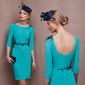 cheap Cocktail Dresses-Sheath / Column Elegant Turquoise / Teal Wedding Guest Cocktail Party Dress Jewel Neck Half Sleeve Knee Length Polyester with Appliques 2020