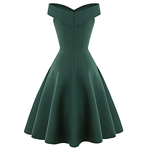 cheap Historical & Vintage Costumes-Audrey Hepburn 1950s Vintage Inspired Dress Women's Spandex Costume Black / Red / Green Vintage Cosplay Wedding Party Short Sleeve Midi A-Line