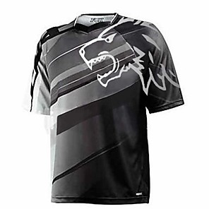 cheap Cycling Jerseys-21Grams Men's Short Sleeve Cycling Jersey Downhill Jersey Dirt Bike Jersey Dark Grey Green Black Gradient Wolf Bike Jersey Top Mountain Bike MTB Road Bike Cycling UV Resistant Breathable Quick Dry