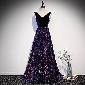 cheap Prom Dresses-A-Line Sparkle Black Prom Formal Evening Dress V Neck Sleeveless Sweep / Brush Train Sequined Velvet with Sequin 2020