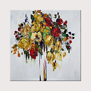 cheap Floral/Botanical Paintings-Oil Painting Hand Painted - Abstract Modern Rolled Canvas