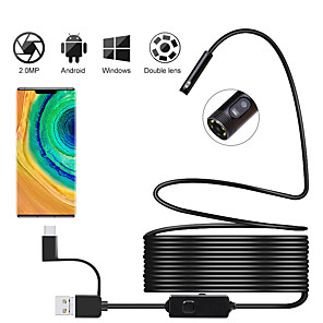 cheap CCTV Cameras-Newest Android Inspection Camera with Dual Lens Endoscope Camera 720P HD 2.0MP 8mm Semi-rigid Snake Camera For OTG Android PC