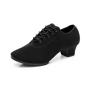 cheap Wedding Shoes-Women's Dance Shoes Polyester Jazz Shoes Ribbon Tie Heel Thick Heel Black