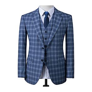 cheap Custom Tuxedo-Scotland blue plaid wool custom suit