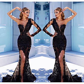 cheap Evening Dresses-Mermaid / Trumpet Elegant Formal Evening Dress One Shoulder Long Sleeve Court Train Tulle with Appliques Split Front 2020