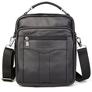cheap Men's Bags-Men's Zipper Cowhide Crossbody Bag Solid Color Black / Coffee