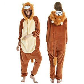 cheap Kigurumi Pajamas-Adults' Kigurumi Pajamas Lion Onesie Pajamas Flannel Brown Cosplay For Men and Women Animal Sleepwear Cartoon Festival / Holiday Costumes