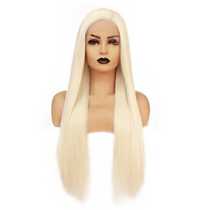 cheap Synthetic Lace Wigs-Synthetic Lace Front Wig Straight Gaga Middle Part Lace Front Wig Blonde Long Light golden Synthetic Hair 22-26 inch Women's Heat Resistant Women Middle Part Blonde / Glueless