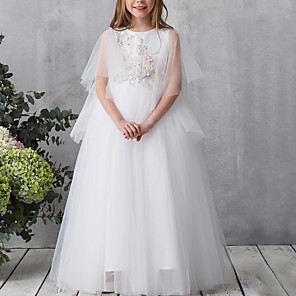 cheap Girls' Dresses-A-Line Floor Length Pageant Flower Girl Dresses - Tulle Short Sleeve Jewel Neck with Beading / Appliques / Crystals / Rhinestones