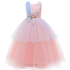 cheap Movie & TV Theme Costumes-Kids Toddler Girls' Active Cute Solid Colored Peplum Sequins Beaded Sleeveless Maxi Dress Blushing Pink