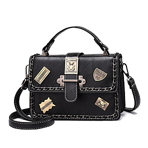 cheap Latin Shoes-Women's Rivet Polyester / PU Top Handle Bag Solid Color Black / White / Blushing Pink