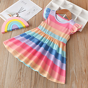 cheap Baby Girls'  Dresses-Baby Girls' Active / Boho Blue & White Color Block / Rainbow / Patchwork Ruffle / Patchwork Sleeveless / Short Sleeve Knee-length Dress Blushing Pink