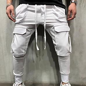 cheap Men's Sneakers-Men's Sporty wfh Sweatpants Pants - Solid Colored Black White Gray US32 / UK32 / EU40 US34 / UK34 / EU42