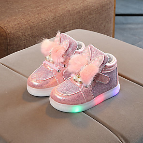 cheap Kids' LED Shoes-Girls' Sneakers LED / Comfort / LED Shoes Mesh / PU LED Shoes Toddler(9m-4ys) / Little Kids(4-7ys) Feather / Pearl / LED Pink / Gold / Silver Spring / Fall / Party & Evening / Color Block / Rubber