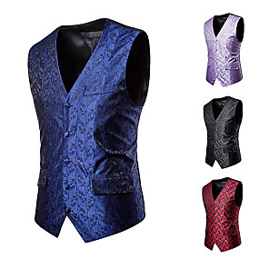 cheap Historical & Vintage Costumes-Plague Doctor Victorian Steampunk Waistcoat Paisley Coletes Men's Cotton Costume Black / Purple / Red Vintage Cosplay Party Halloween / Vest