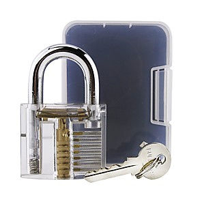cheap Novelties-Locksmith Pick Skill Training Practice Padlock - Transparent