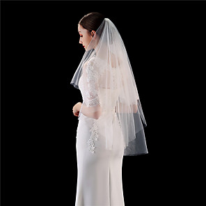 cheap Wedding Wraps-Two-tier Comtemporary / Stylish Wedding Veil Fingertip Veils with Solid 35.43 in (90cm) 100% Polyester / Classic
