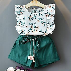 cheap Boys' Clothing Sets-Kids Girls' Basic Geometric Sleeveless Clothing Set White