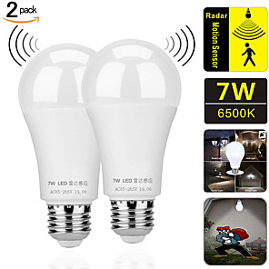 cheap LED Smart Bulbs-ZDM Motion Sensor Light Bulbs 2PCS 7W E27 Radar Induction And Light-Operated Intelligence LED Light Bulb Dusk To Dawn Safety Light Bulb Outdoor / Indoor AC85-265V