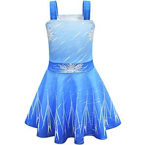 cheap Movie & TV Theme Costumes-Princess Elsa Dress Flower Girl Dress Girls' Movie Cosplay A-Line Slip Halloween Christmas Blue Dress Christmas Halloween