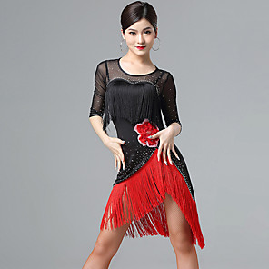 cheap Latin Dancewear-Latin Dance Dress Tassel Women's Performance Half Sleeve Mesh Milk Fiber