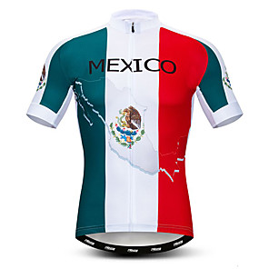 cheap Cycling Jerseys-21Grams Men's Short Sleeve Cycling Jersey Polyester Elastane Lycra White Mexico National Flag Bike Jersey Top Mountain Bike MTB Road Bike Cycling Breathable Quick Dry Moisture Wicking Sports Clothing