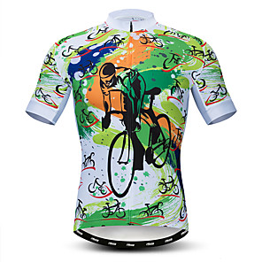 cheap Cycling Jerseys-21Grams Men's Short Sleeve Cycling Jersey Polyester Elastane Lycra Green Bike Jersey Top Mountain Bike MTB Road Bike Cycling Breathable Quick Dry Moisture Wicking Sports Clothing Apparel