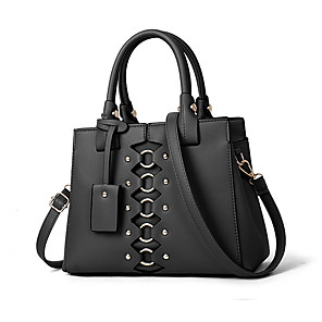 cheap Handbag & Totes-Women's Rivet Faux Leather / PU Tote Solid Color Wine / Black / Yellow / Fall & Winter
