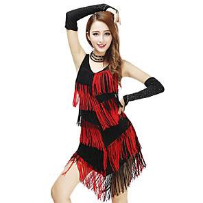 cheap Dancing Costumes-Women's Flapper Girl Latin Dance Flapper Dress Party Costume Tassel Flapper Costume Polyster Almond Red Dress