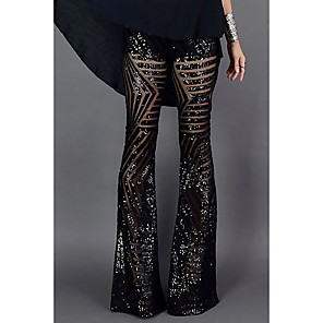 cheap Women's Boots-Women's Basic Wide Leg Pants - Solid Colored Sequins High Waist Black Brown S M L